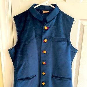 Navy blue manyavar Nehru vest 38 medium